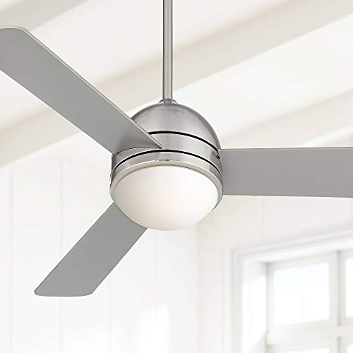 """44"""" Trifecta Modern Ceiling Fan with Light LED Remote Control Brushed Nickel Opal Frosted Glass for Living Room Kitchen Bedroom Dining - Casa Vieja"""