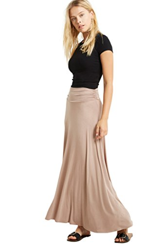 Women Rayon Maxi Ruched High Waist Comfy Long Skirt Taupe ()