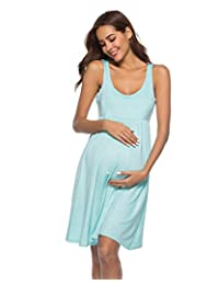 Women's Maternity Solid Color Dress Big Hem Mid Dress,Color1,S