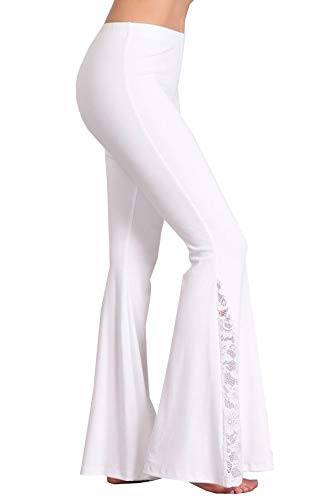 - Zoozie LA Women's Bell Bottoms Stretch Pants High Waist Flare Lace White S