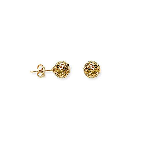 Ball Earrings, Hollow Laser Ball Stud Earring by DiamondJewelryNY
