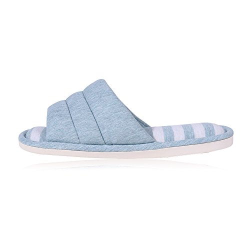 shevalues Women's Soft Indoor Slippers Open Toe Cotton Memory Foam Slip on Home Shoes House Slippers Teal Large