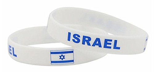 Israel Lot of 2 Wrist Band Flag Logo Fans Silicone Wristband ID Bracelet Bangle Souvenir Gift. 2018 World Cup - Great Gift For Men & Women, Him or Her