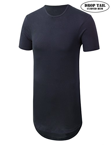 JD Apparel Mens Basic Hipster Longline Drop Tail T-Shirts X-Small Navy from JD Apparel