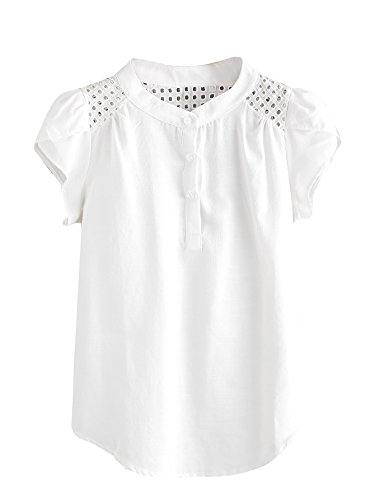 - Romwe Women's Casual Striped Short Sleeve Button Down Blouse Shirts White# X-Large
