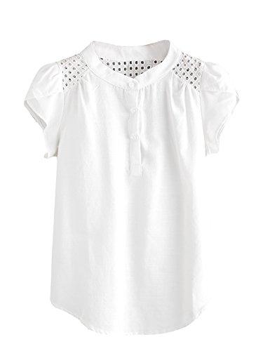 Striped Short Sleeve Button Down Blouse Shirts White# Medium ()