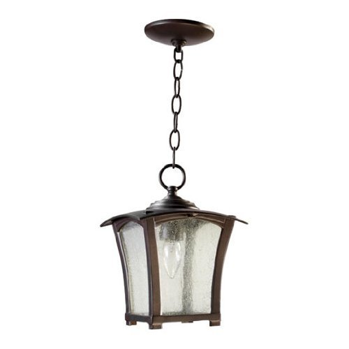 Oiled Bronze Refrigerator (Quorum 7511-8-86 Gable - One Light Outdoor Pendant, Oiled Bronze Finish with Clear Seeded Glass by Quorum Lighting)