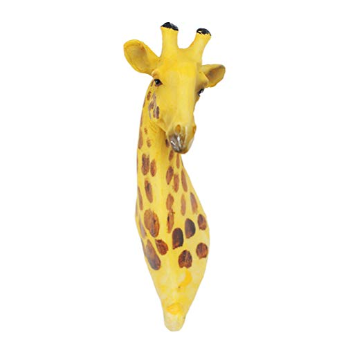 (SUPVOX Giraffe Wall Sculpture Animal Head Bust Mounted Faux Head Wall Art Decor Coat Hat Hook)