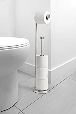 AmazonBasics Free Standing Toilet Paper Stand with Reserve - Nickel