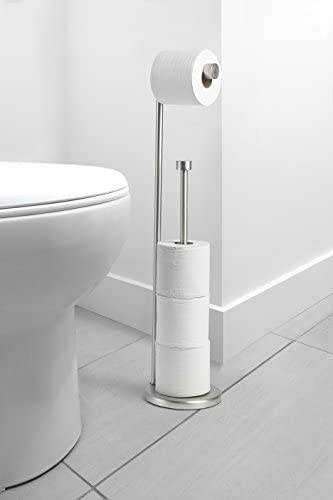 Amazon Basics Free Standing Bathroom Toilet Paper Holder Stand with Reserve, Silver Nickel