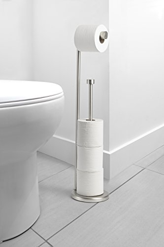 AmazonBasics-Free-Standing-Toilet-Paper-Stand-with-Reserve-Nickel