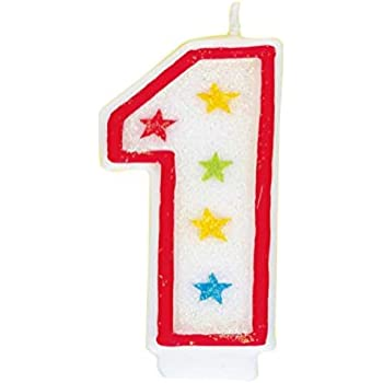 Glitter Number 1 Birthday Candle Happy Cake Topper