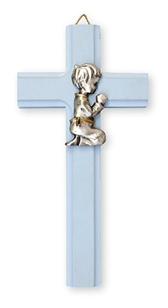 15cm BLUE WOOD BOY Pewter Motif Wall Hanging Crucifix Cross Ideal Communion Confirmation Gift with Pewter Love Heart Token Brooch cbc