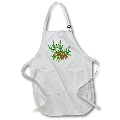 3dRose Anne Marie Baugh - Christmas - Pretty Christmas Pinecone and Berry Pine Foilage Illustration - Black Full Length Apron with Pockets 22w x 30l (apr_318567_4) ()