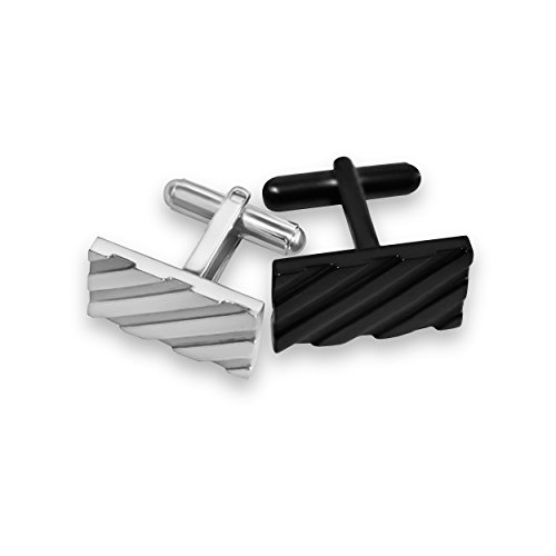 Cufflinks for Mens Shirt -Stainless Steel Fashion Jewelry Set comes with case. Designer custom made stud cufflink with box holder, Perfect for groomsmen gifts, all men, and tie bars. Better (Stainless Steel And Sterling Silver Cufflinks)