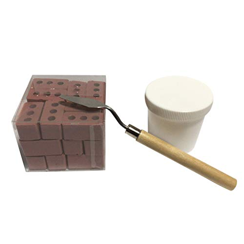 Lucoo 24Pcs Mini Cement Bricks and Mortar Let You Build Your Own Tiny Wall Mini Bricks Dollhouse Toy Education Toys for Kids Girls Boys Gift Mortar & Tool & Bricks Set (Red)