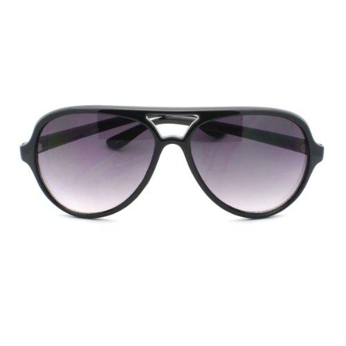 Aviator Sunglasses Tear Drop Double Brow Smoke Lens Car Racing Sport Fashion (Aviator/Black/Smoke, - Brow Double