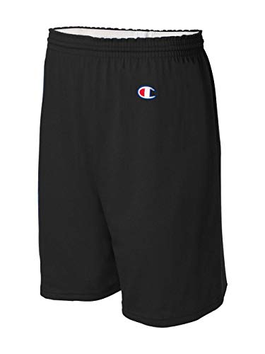 ( Champion Men's  6-Inch Black   Cotton Jersey Shorts -)