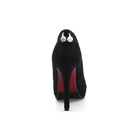 VogueZone009 Women's Imitated Suede Solid Pointed Closed Toe Spikes-Stilettos Pumps-Shoes Black zaEea