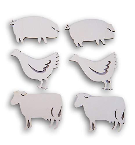 (Natural Unpainted Wood Cutouts - Farmyard Animals - Set of 6)