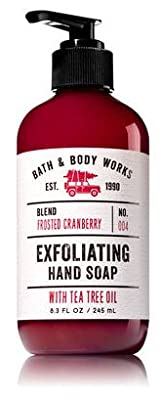 FROSTED CRANBERRY, SPARKLING MINT BLOSSOM & WINTER WHITE WOODS Bath & Body Works Set of Exfoliating Hand Soap with Tea Tree Oil - Pack of 3 with a Jarosa Organic Peppermint Lip Balm by Jarosa Gifts
