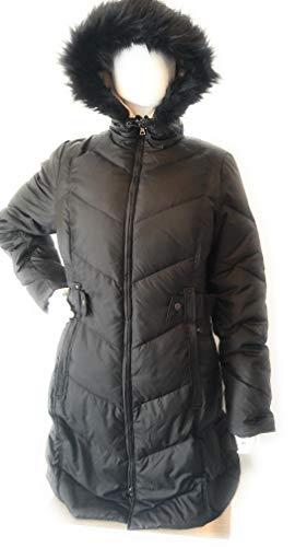 LARRY LEVINE Women's Chevron Stitched Puffer with Faux Fur Trim Hood, Black L