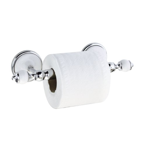 MODONA Toilet Paper Holder - White Porcelain & Chrome - Arora Series - 5 Year Warrantee