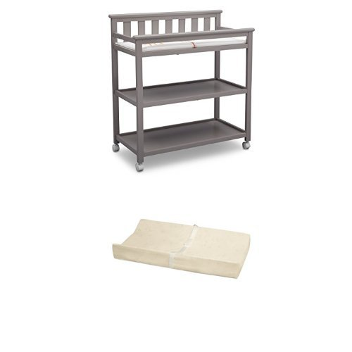 Delta Children Flat Top Changing Table with Casters, Grey and Simmons Kids Beautysleep Naturally Contour Pad
