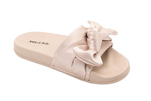 Shoes Fuzzy Slides Summer Sandals Womens Casual Outdoor nude Beach Bow Slipper Anti Skid for RBUwnAq