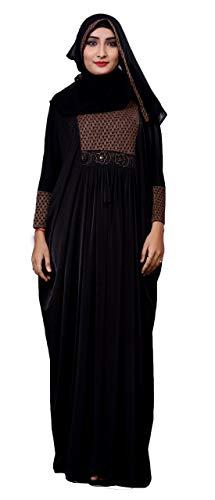 Justkartit Women's Lycra Lace Work Abaya/Hijab (JCRB1024; Black; Free Size)