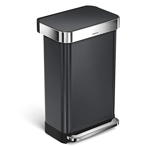 simplehuman 45 Liter / 12 Gallon Stainless Steel Rectangular Kitchen Step Trash Can with Liner Pocket, Black Stainless Steel ()