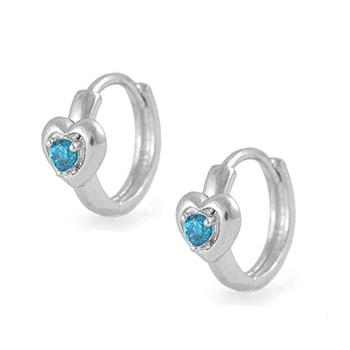 Kids Silver Heart Simulated December Birthstone Huggie Hoop Earrings For Girls (Baby December Birthstone Earrings)