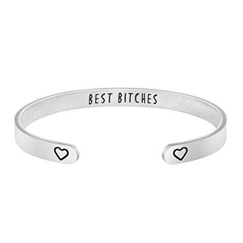 Joycuff Best Bitches Bracelet Cute Jewelry Gift for BFF Best Friend Friendship Personalized Mantra Cuff Bangle