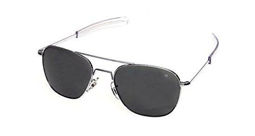 AO Eyewear American Optical - Original Pilot Aviator Sunglasses with Bayonet Temple and Matte Chrome, Color Correct Grey Polycarbon ate Lens