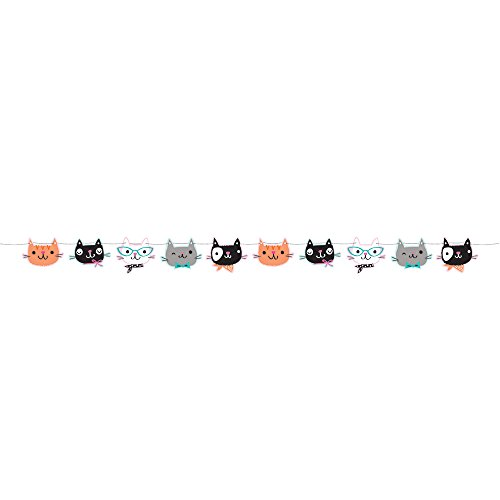 Creative Converting 329408 Die Cut Cat Party Banner with Twine, Purr-Fect Party