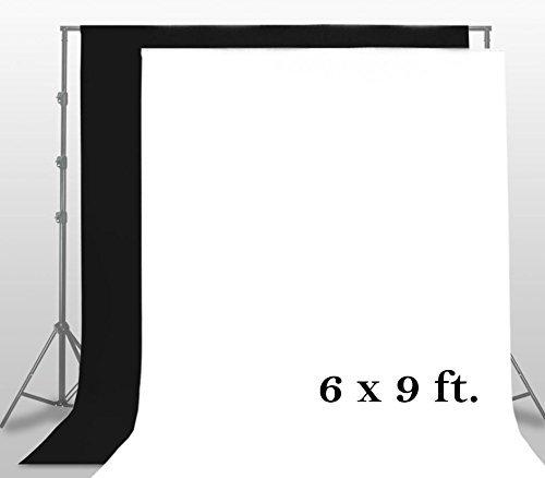 LimoStudio Studio Background Muslin 6' x 9' White Photography Backdrop + 6' x 9' Black Photography Backdrop by LimoStudio