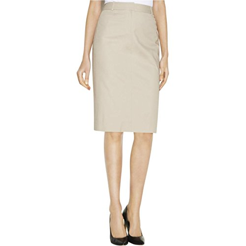 Pleated Pocket Pencil Skirt (Calvin Klein Womens Knee-Length Faux Pockets Pencil Skirt Beige 16)