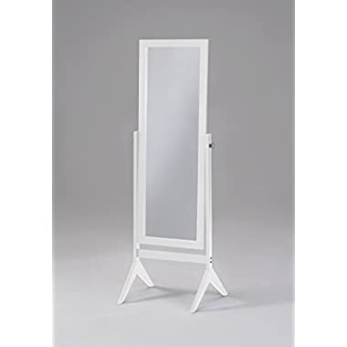 White Finish Wooden Cheval Bedroom Free Standing Floor Mirror (Cheval White)