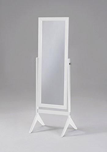 White Finish Wooden Cheval Bedroom Free Standing Floor Mirror (Cheval White) by eHomeProducts (Swivel Mirror Rectangular)