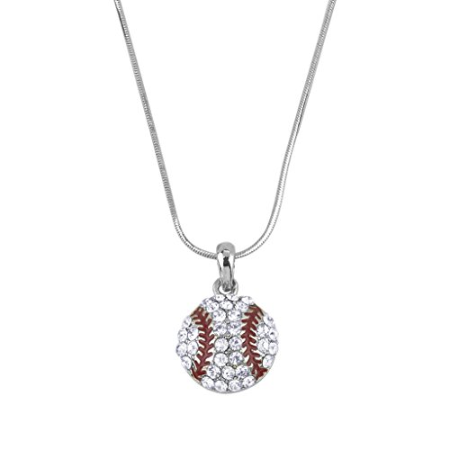 [Lux Accessories Pave Baseball Delicate Pendant Charm Necklace Mom Beisbol] (Womens Baseball Costumes)