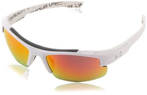 UA Nitro L Kids' Shiny WHT / UA Wordmark (Interior)/W GRY W Orange Mirror & - Under Sunglasses Boys Armour