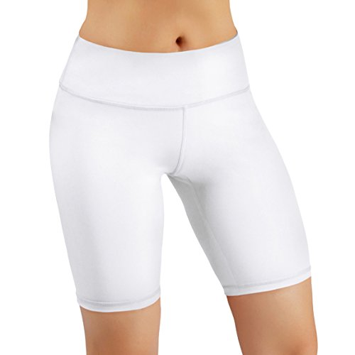 ODODOS by Power Flex Yoga Shorts for Women Tummy Control Workout Running Shorts Pants Yoga Shorts with Hidden Pocket, White, Medium