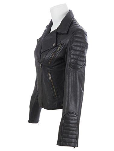 une Blouson ultra avec fermeture court doux cuir par femme motard Noir et fait pour vritable MDK de asymtrique glissire 4wB6g4pqx