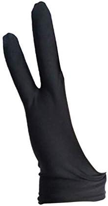 UGEE Freie Größe Zwei-Finger-Zeichnung Handschuh Antifouling Schwarz Y3P6