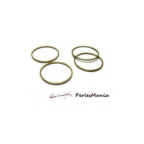 10 pendentifs grand anneau connecteur fermé rond BRONZE 25mm H1118725