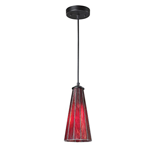 Lumino 1 Light Pendant (Alumbrada Collection Lumino 1 Light Pendant In Matte Black And Inferno Red)