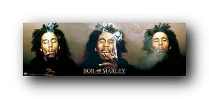 Bob Marley 3 Faces Smoking Music Poster Art Print 24X36 61X91.5cm