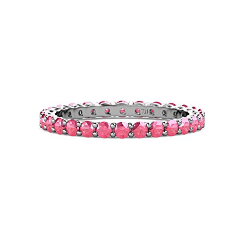 Pink Gallery Tourmaline - TriJewels Pink Tourmaline 2.4mm Shared Prong Gallery Eternity Band 0.88-1.02 ctw 14K White Gold.size 6.25