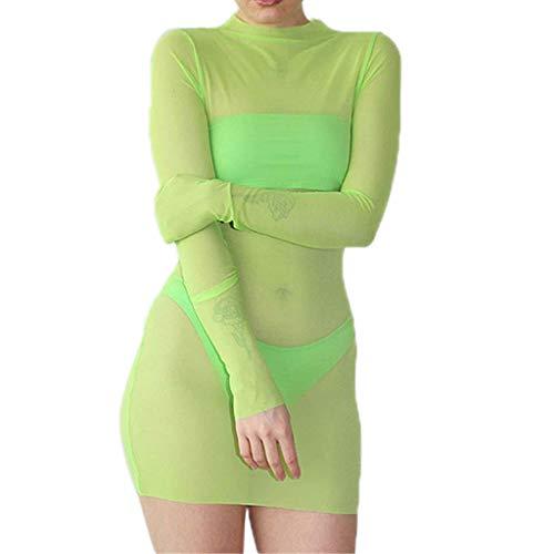 Women Perspective Dress Clearance Sale,NDGDA Sexy O-Neck Long Sleeve Net Yarn Backing Mini Dress ()