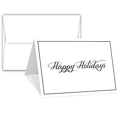 Happy Holiday Greeting Cards & Envelopes - Size 5 X 7 Cards When Folded - A7 Envelopes. (25 Per -